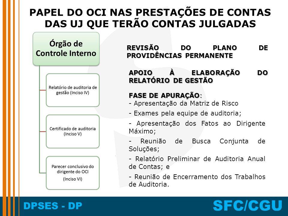 DPSES - DP SFC/CGU FASE DE APURAÇÃO: - Apresentação da Matriz de Risco - Exames pela equipe de auditoria; - Apresentação dos Fatos ao Dirigente Máximo