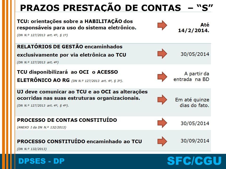 DPSES - DP SFC/CGU PRAZOS PRESTAÇÃO DE CONTAS – S