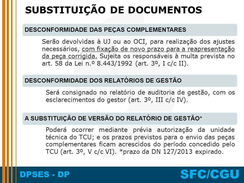 DPSES - DP SFC/CGU Serão devolvidas à UJ ou ao OCI, para realização dos ajustes necessários, com fixação de novo prazo para a reapresentação da peça c