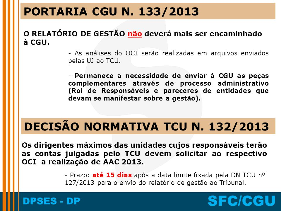 DPSES - DP SFC/CGU PORTARIA CGU N. 133/2013 O RELATÓRIO DE GESTÃO não deverá mais ser encaminhado à CGU. - As análises do OCI serão realizadas em arqu