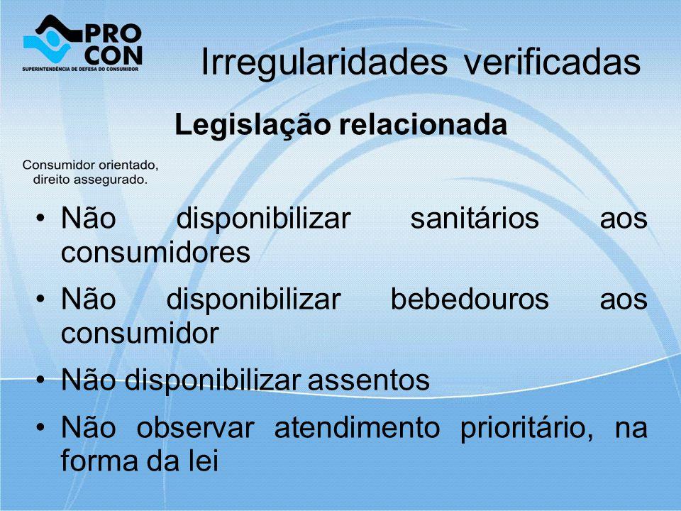 Irregularidades verificadas Legislação relacionada Não disponibilizar sanitários aos consumidores Não disponibilizar bebedouros aos consumidor Não disponibilizar assentos Não observar atendimento prioritário, na forma da lei