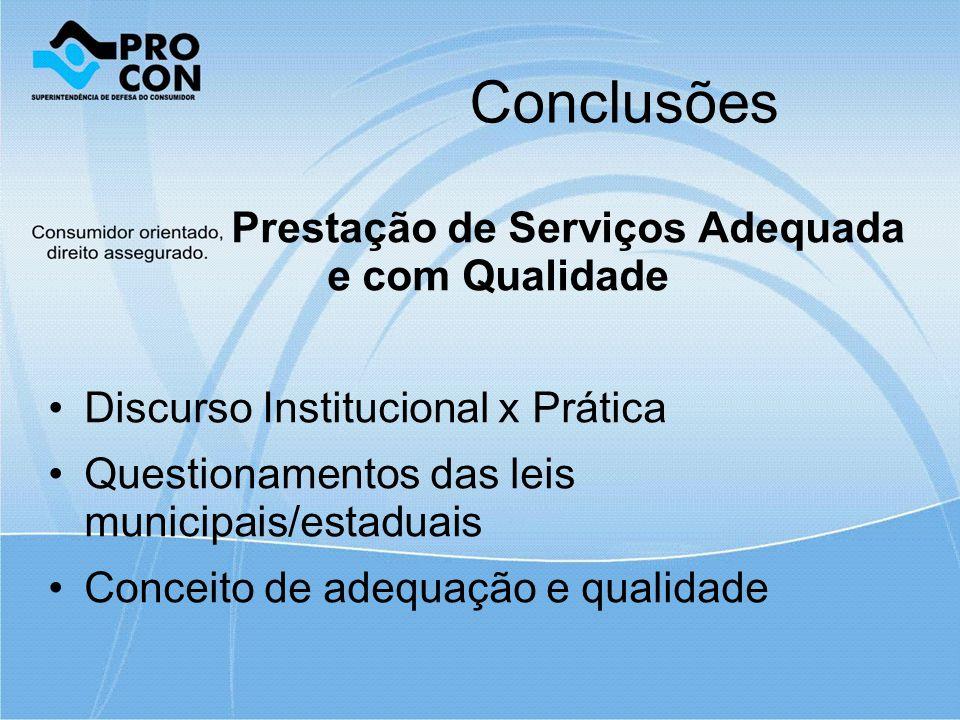 Conclusões Prestação de Serviços Adequada e com Qualidade Discurso Institucional x Prática Questionamentos das leis municipais/estaduais Conceito de adequação e qualidade