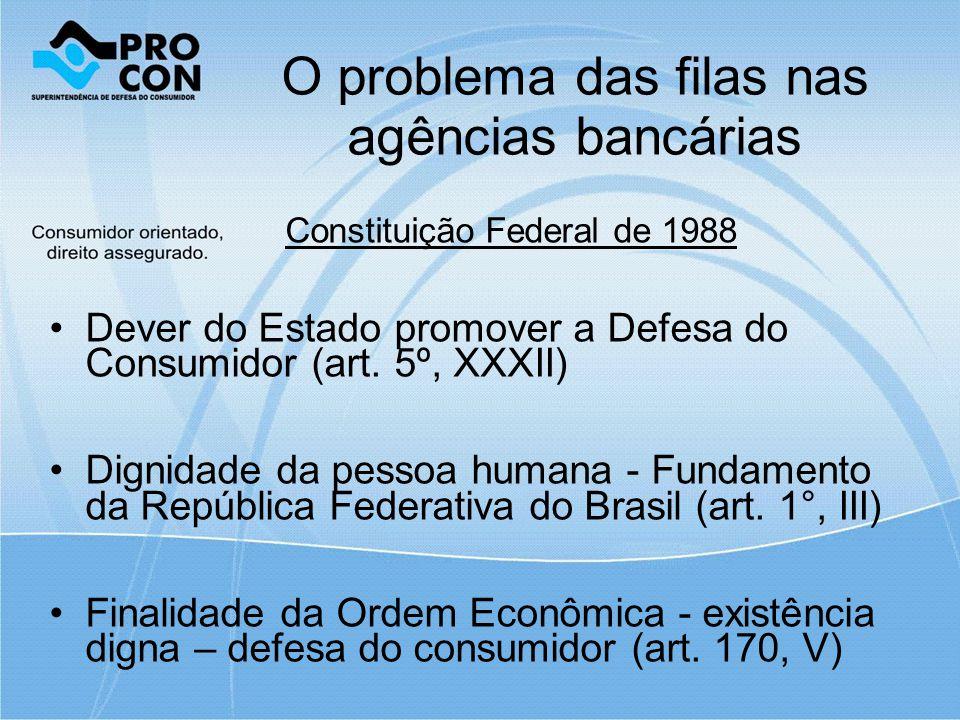 O problema das filas nas agências bancárias Constituição Federal de 1988 Dever do Estado promover a Defesa do Consumidor (art.