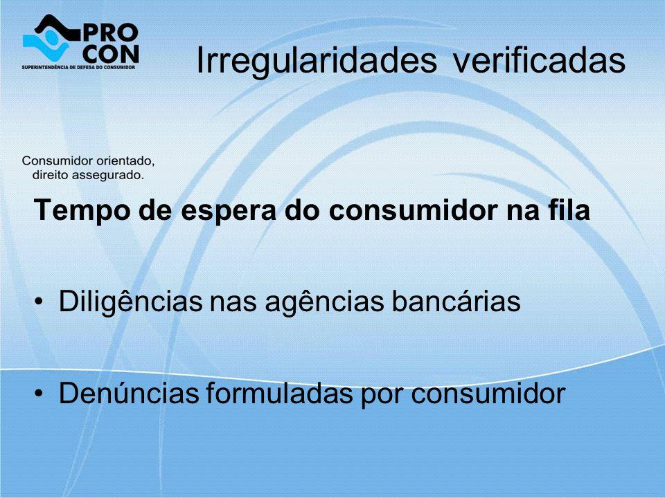 Irregularidades verificadas Tempo de espera do consumidor na fila Diligências nas agências bancárias Denúncias formuladas por consumidor