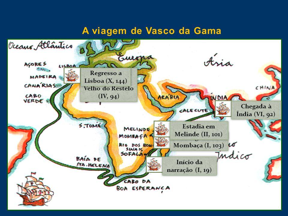 A viagem de Vasco da Gama Início da narração (I, 19) Chegada a Mombaça (I, 103) Estadia em Melinde (II, 101) Despedidas em Belém (IV, 87) Velho do Res