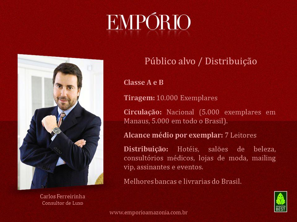 Classe A e B Público alvo / Distribuição www.emporioamazonia.com.br Tiragem: 10.000 Exemplares Circulação: Nacional (5.000 exemplares em Manaus, 5.000