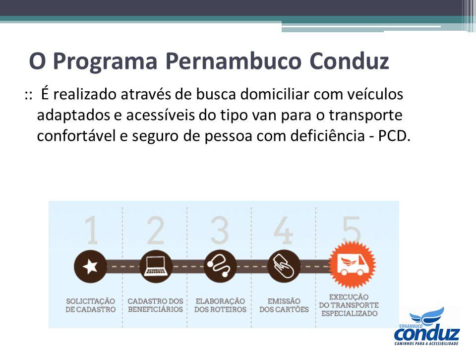 O Programa Pernambuco Conduz :: É realizado através de busca domiciliar com veículos adaptados e acessíveis do tipo van para o transporte confortável