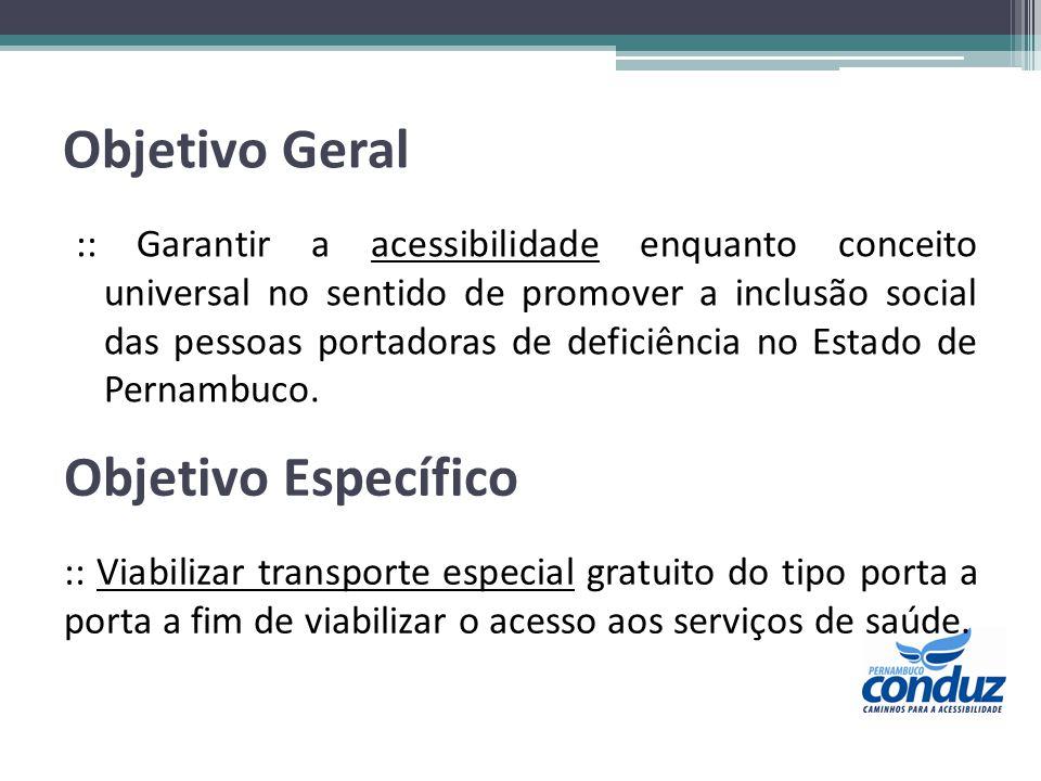Objetivo Geral :: Garantir a acessibilidade enquanto conceito universal no sentido de promover a inclusão social das pessoas portadoras de deficiência