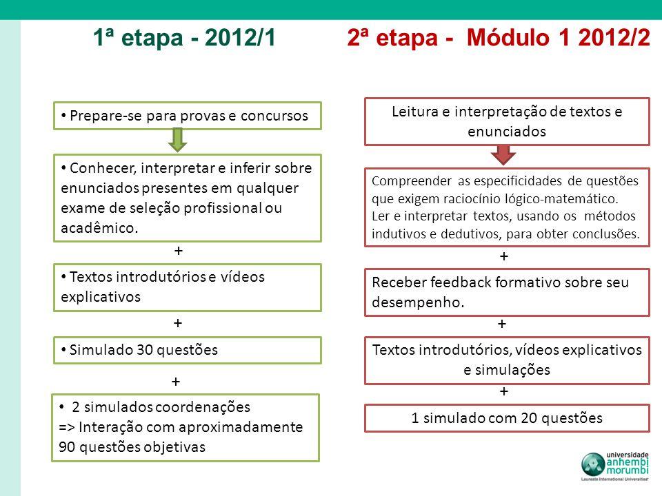 1ª etapa - 2012/12ª etapa - Módulo 1 2012/2 Prepare-se para provas e concursos Textos introdutórios e vídeos explicativos Simulado 30 questões Conhece