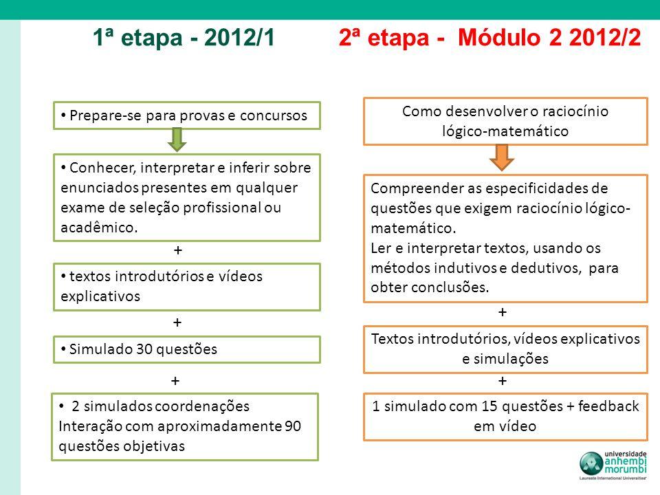 1ª etapa - 2012/12ª etapa - Módulo 2 2012/2 Prepare-se para provas e concursos textos introdutórios e vídeos explicativos Simulado 30 questões Conhece