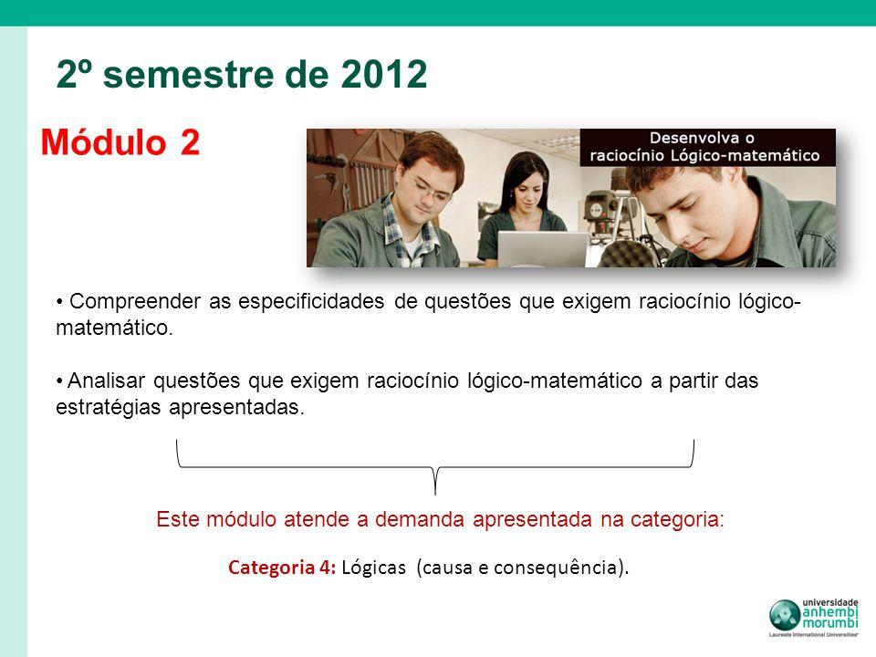 Módulo 2 2º semestre de 2012 Compreender as especificidades de questões que exigem raciocínio lógico- matemático. Analisar questões que exigem raciocí