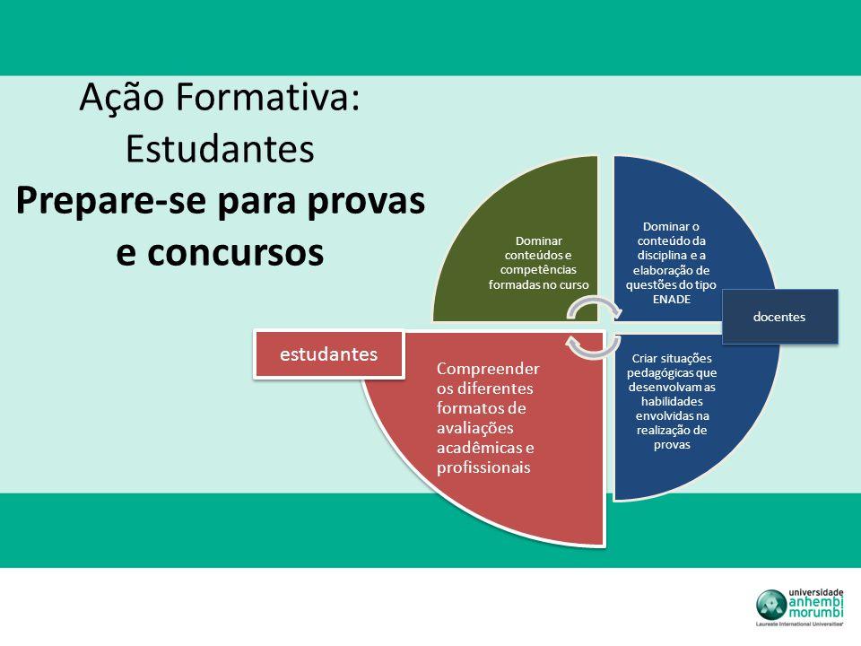 Ação Formativa: Estudantes Prepare-se para provas e concursos Dominar conteúdos e competências formadas no curso Dominar o conteúdo da disciplina e a
