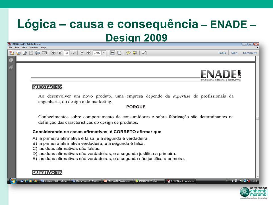 Lógica – causa e consequência – ENADE – Design 2009