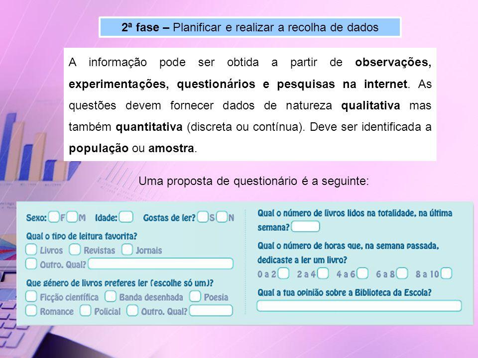 2ª fase – Planificar e realizar a recolha de dados A informação pode ser obtida a partir de observações, experimentações, questionários e pesquisas na