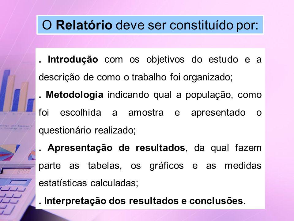 O Relatório deve ser constituído por:. Introdução com os objetivos do estudo e a descrição de como o trabalho foi organizado;. Metodologia indicando q