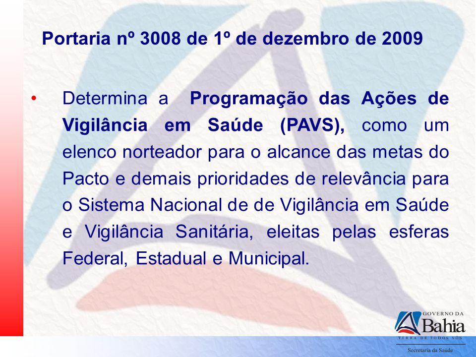 Portaria nº 3008 de 1º de dezembro de 2009 Determina a Programação das Ações de Vigilância em Saúde (PAVS), como um elenco norteador para o alcance da