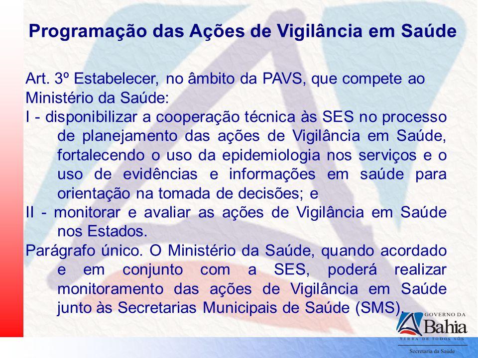 Art. 3º Estabelecer, no âmbito da PAVS, que compete ao Ministério da Saúde: I - disponibilizar a cooperação técnica às SES no processo de planejamento