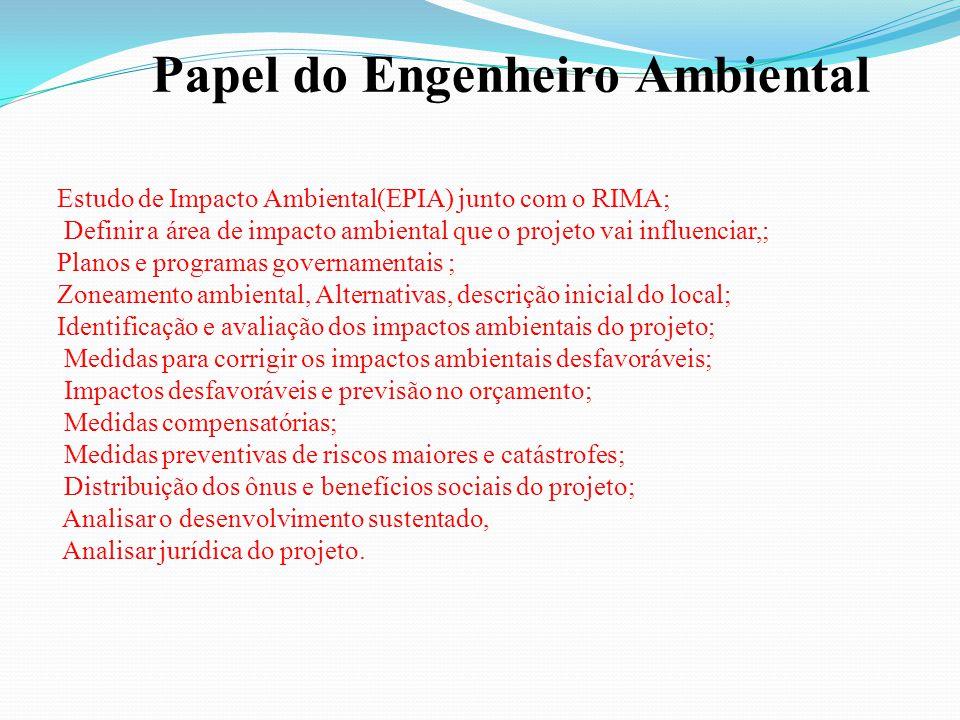 Estudo de Impacto Ambiental(EPIA) junto com o RIMA; Definir a área de impacto ambiental que o projeto vai influenciar,; Planos e programas governament