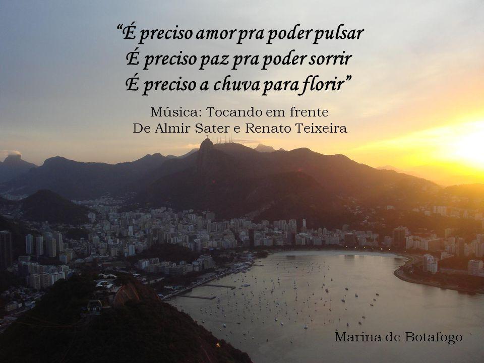 É preciso amor pra poder pulsar É preciso paz pra poder sorrir É preciso a chuva para florir Música: Tocando em frente De Almir Sater e Renato Teixeira Marina de Botafogo