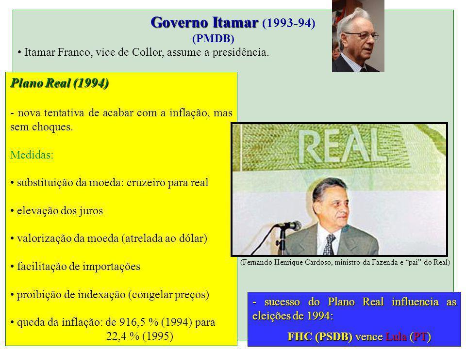 Governo Itamar Governo Itamar (1993-94) (PMDB) Itamar Franco, vice de Collor, assume a presidência. Plano Real (1994) - nova tentativa de acabar com a
