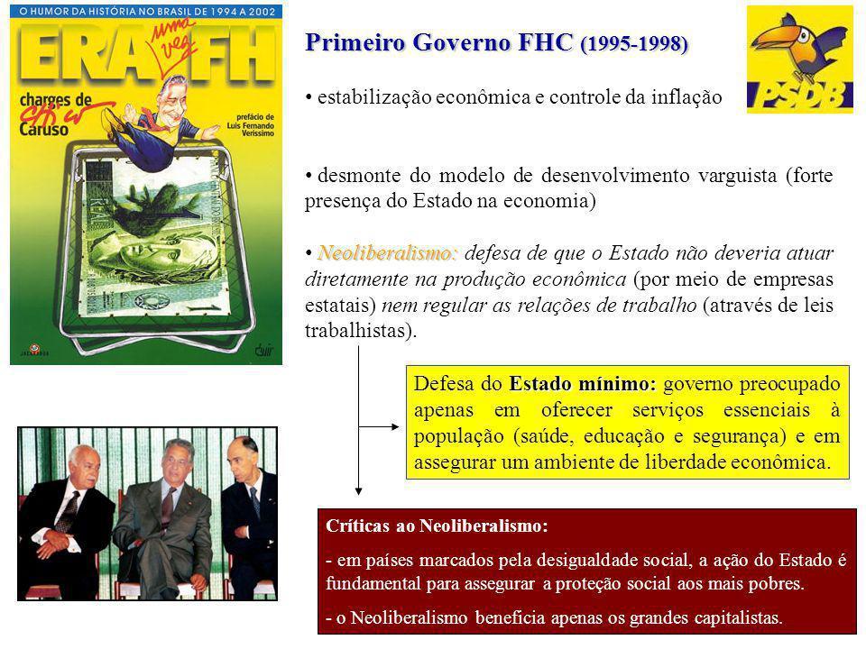 Primeiro Governo FHC (1995-1998) estabilização econômica e controle da inflação desmonte do modelo de desenvolvimento varguista (forte presença do Est