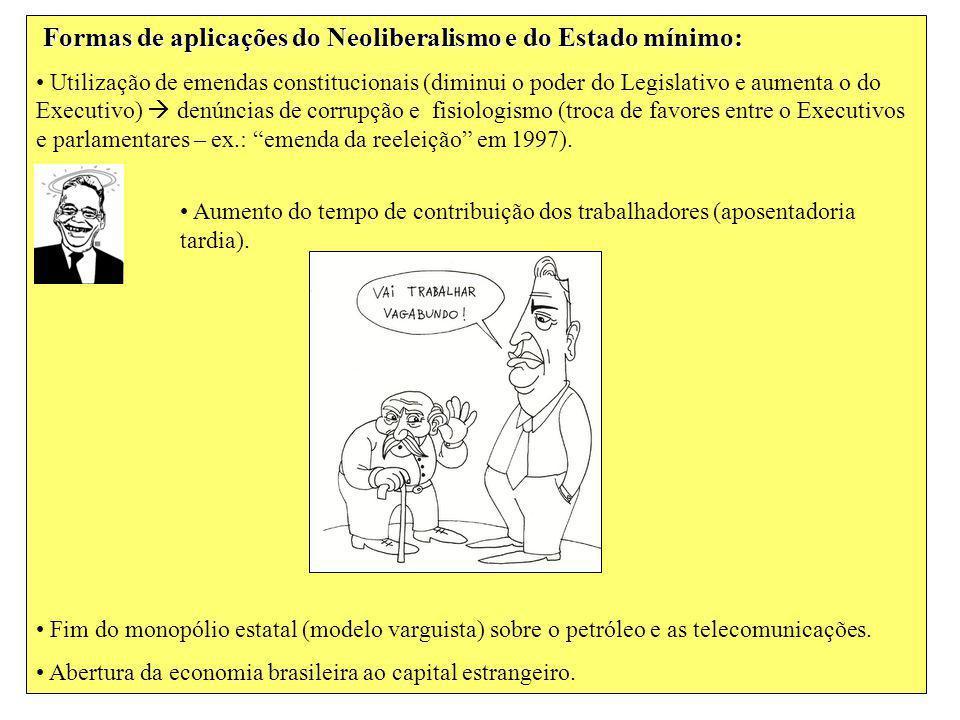 Formas de aplicações do Neoliberalismo e do Estado mínimo: Utilização de emendas constitucionais (diminui o poder do Legislativo e aumenta o do Execut