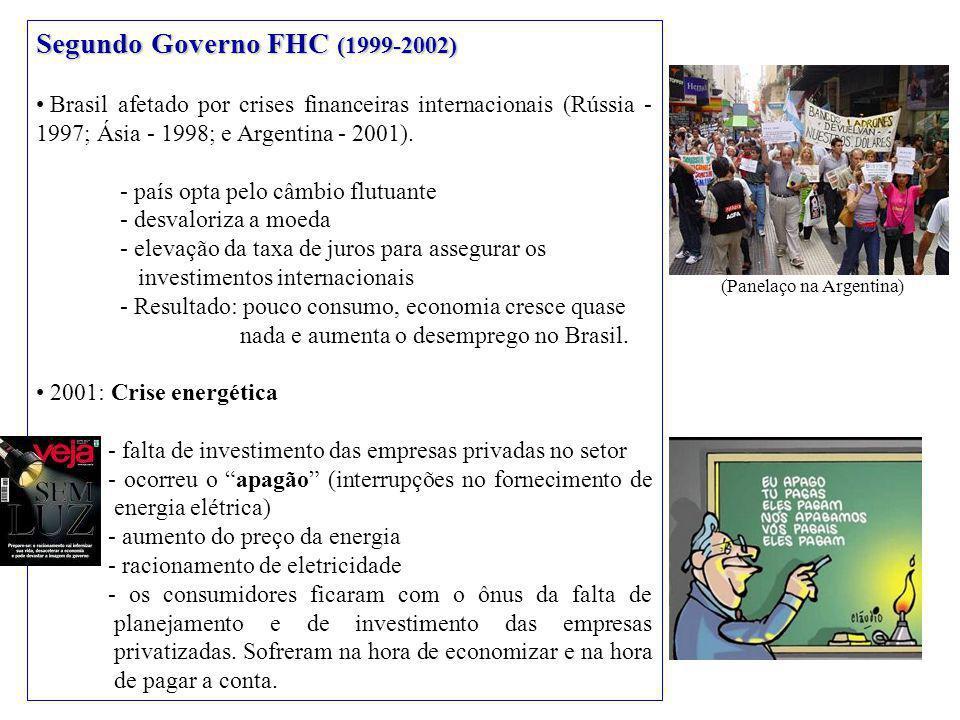 Segundo Governo FHC (1999-2002) Brasil afetado por crises financeiras internacionais (Rússia - 1997; Ásia - 1998; e Argentina - 2001).
