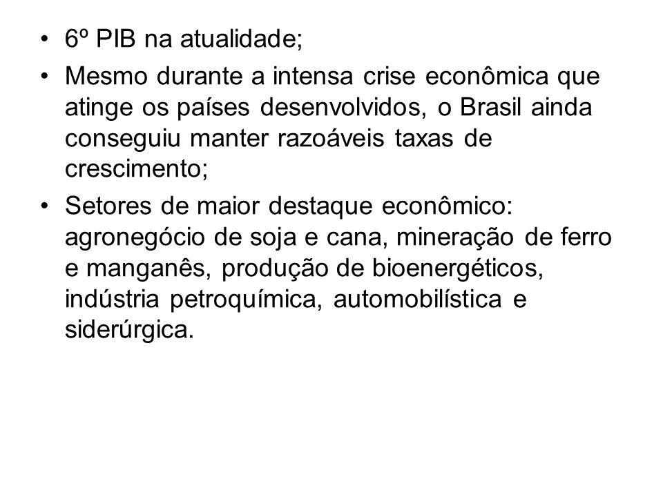 6º PIB na atualidade; Mesmo durante a intensa crise econômica que atinge os países desenvolvidos, o Brasil ainda conseguiu manter razoáveis taxas de crescimento; Setores de maior destaque econômico: agronegócio de soja e cana, mineração de ferro e manganês, produção de bioenergéticos, indústria petroquímica, automobilística e siderúrgica.