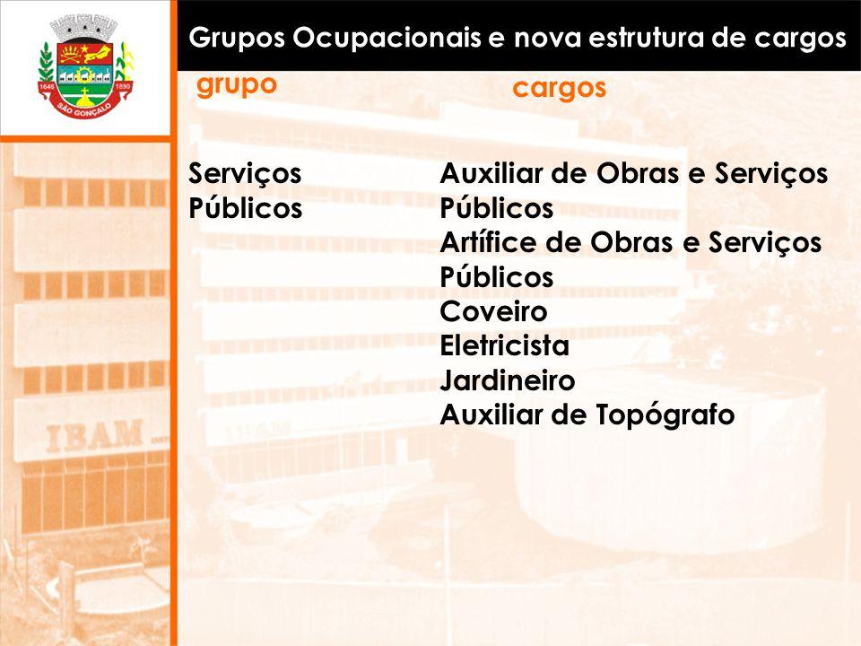 Grupos Ocupacionais e nova estrutura de cargos Serviços Públicos Auxiliar de Obras e Serviços Públicos Artífice de Obras e Serviços Públicos Coveiro E