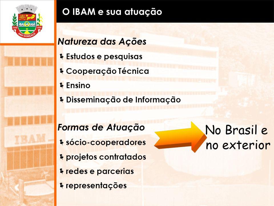 O IBAM e sua atuação Natureza das Ações Estudos e pesquisas Cooperação Técnica Ensino Disseminação de Informação Formas de Atuação sócio-cooperadores