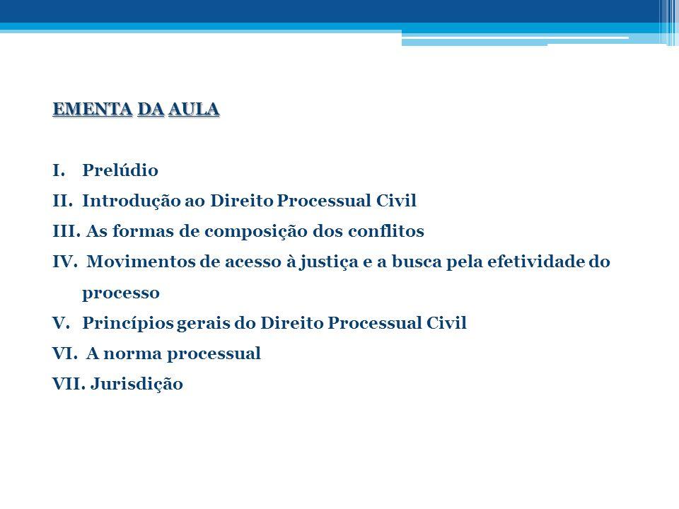 EMENTA DA AULA I.Prelúdio II.Introdução ao Direito Processual Civil III. As formas de composição dos conflitos IV. Movimentos de acesso à justiça e a