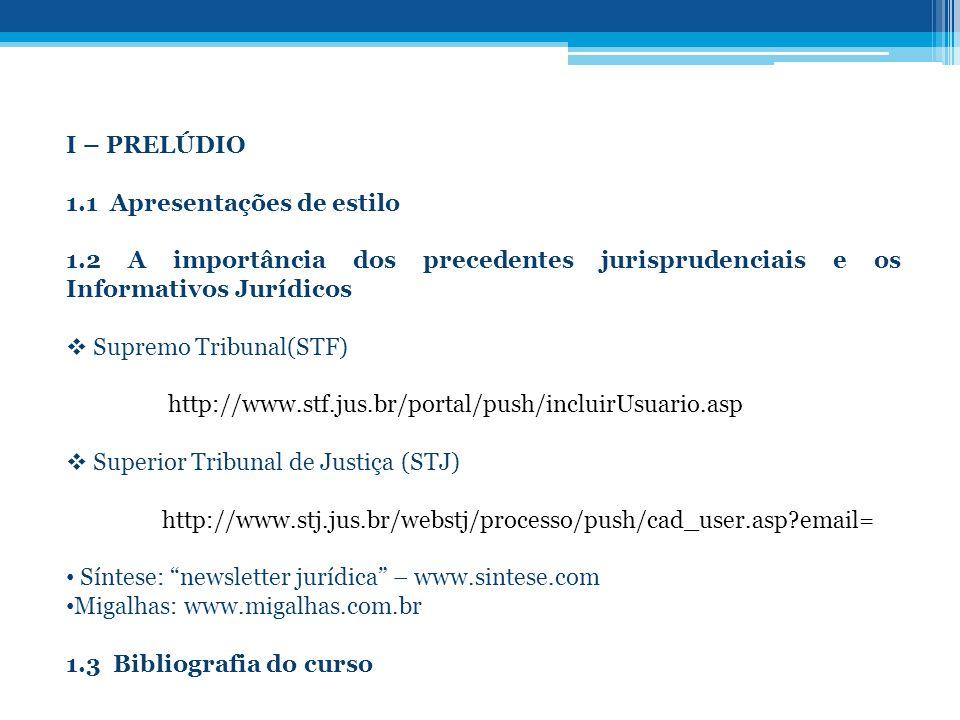 I – PRELÚDIO 1.1 Apresentações de estilo 1.2 A importância dos precedentes jurisprudenciais e os Informativos Jurídicos Supremo Tribunal(STF) http://w