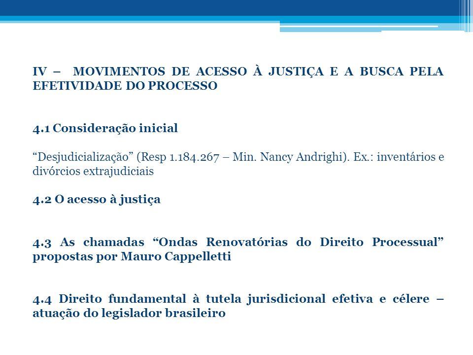 IV – MOVIMENTOS DE ACESSO À JUSTIÇA E A BUSCA PELA EFETIVIDADE DO PROCESSO 4.1 Consideração inicial Desjudicialização (Resp 1.184.267 – Min. Nancy And