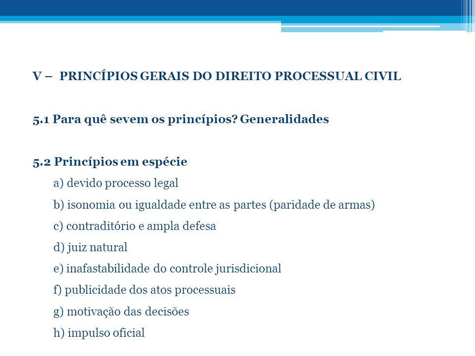 V – PRINCÍPIOS GERAIS DO DIREITO PROCESSUAL CIVIL 5.1 Para quê sevem os princípios? Generalidades 5.2 Princípios em espécie a) devido processo legal b