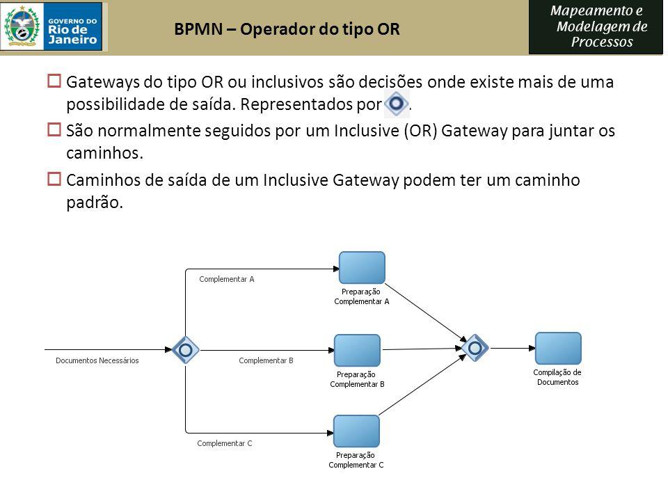 Mapeamento e Modelagem de Processos Gateways do tipo OR ou inclusivos são decisões onde existe mais de uma possibilidade de saída. Representados por.