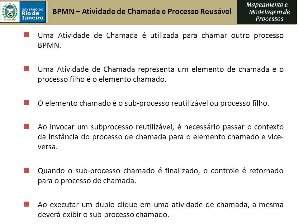 Mapeamento e Modelagem de Processos Uma Atividade de Chamada é utilizada para chamar outro processo BPMN. Uma Atividade de Chamada representa um eleme