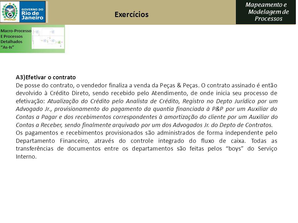 Mapeamento e Modelagem de Processos A3)Efetivar o contrato De posse do contrato, o vendedor finaliza a venda da Peças & Peças. O contrato assinado é e