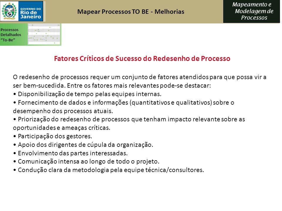 Mapeamento e Modelagem de Processos O redesenho de processos requer um conjunto de fatores atendidos para que possa vir a ser bem-sucedida. Entre os f