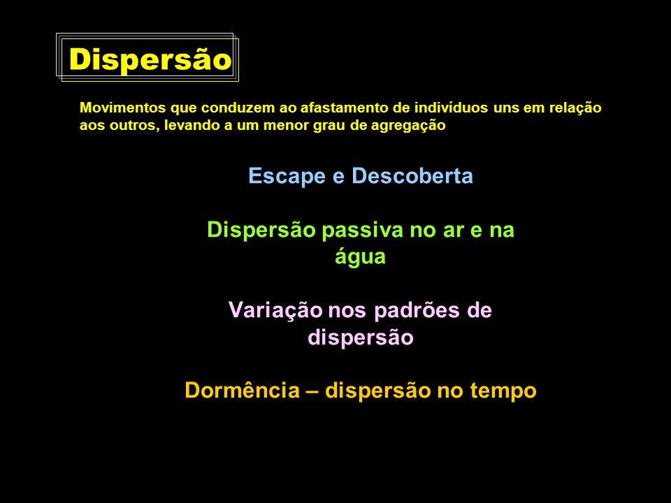 Escape e Descoberta Dispersão passiva no ar e na água Variação nos padrões de dispersão Dormência – dispersão no tempo Dispersão Movimentos que conduz