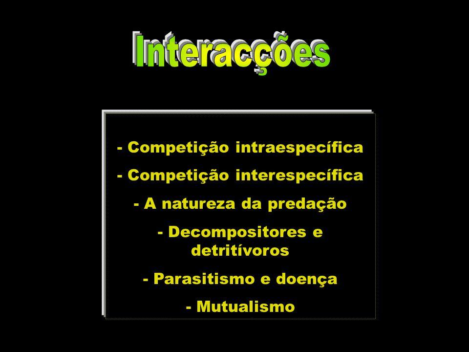 - Competição intraespecífica - Competição interespecífica - A natureza da predação - Decompositores e detritívoros - Parasitismo e doença - Mutualismo