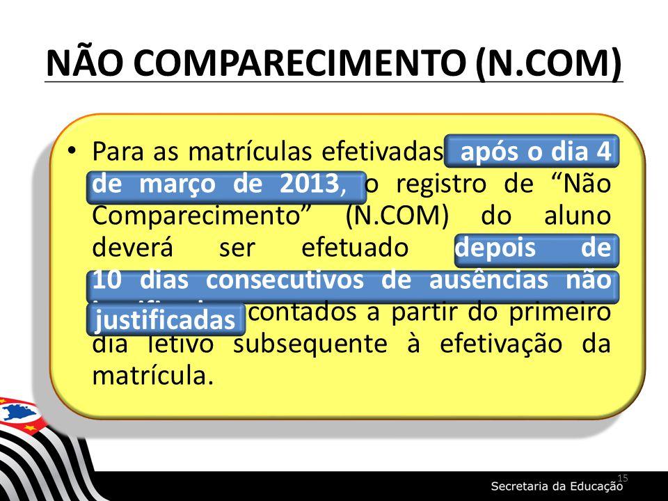 NÃO COMPARECIMENTO (N.COM) Para as matrículas efetivadas após o dia 4 de março de 2013, o registro de Não Comparecimento (N.COM) do aluno deverá ser e