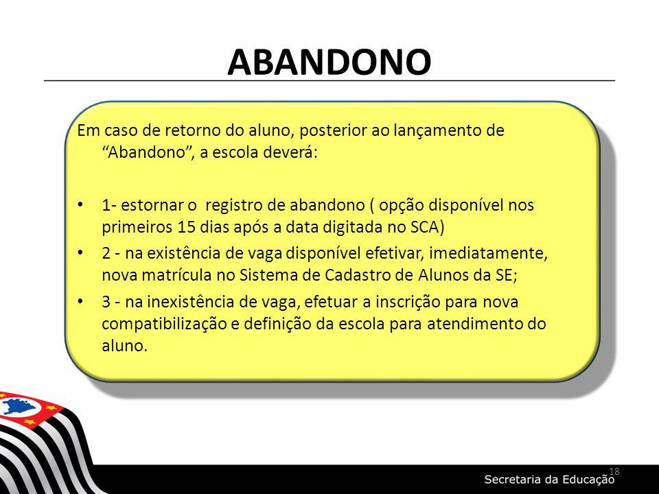 ABANDONO Em caso de retorno do aluno, posterior ao lançamento de Abandono, a escola deverá: 1- estornar o registro de abandono ( opção disponível nos