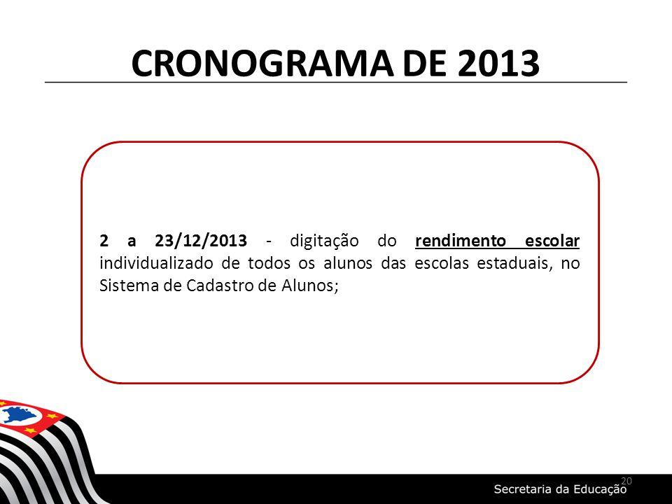 CRONOGRAMA DE 2013 2 a 23/12/2013 - digitação do rendimento escolar individualizado de todos os alunos das escolas estaduais, no Sistema de Cadastro d