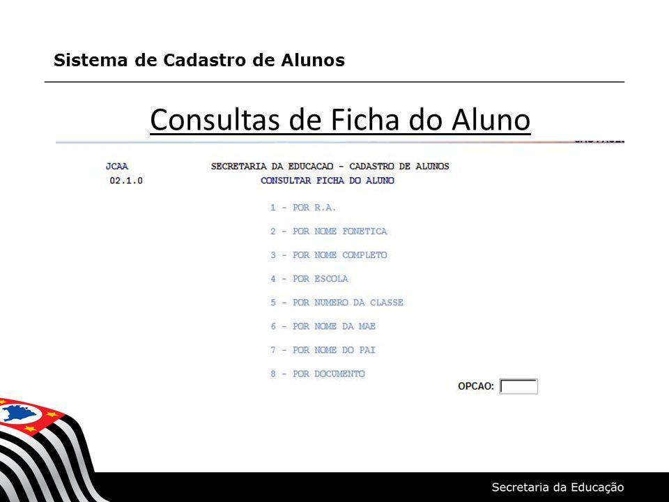 Consultas de Ficha do Aluno Sistema de Cadastro de Alunos