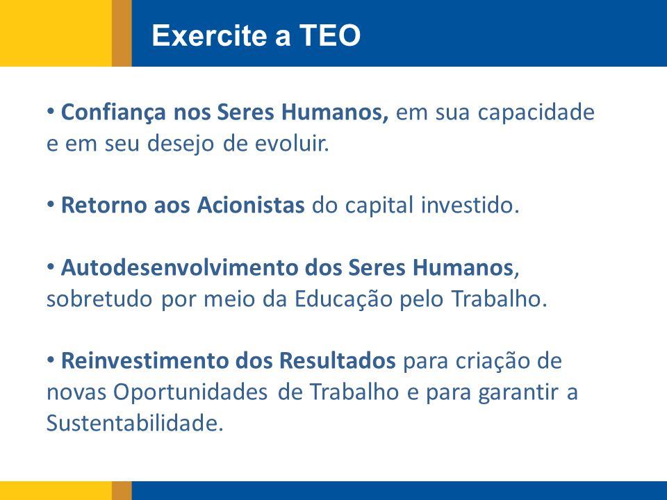Exercite a TEO Confiança nos Seres Humanos, em sua capacidade e em seu desejo de evoluir.