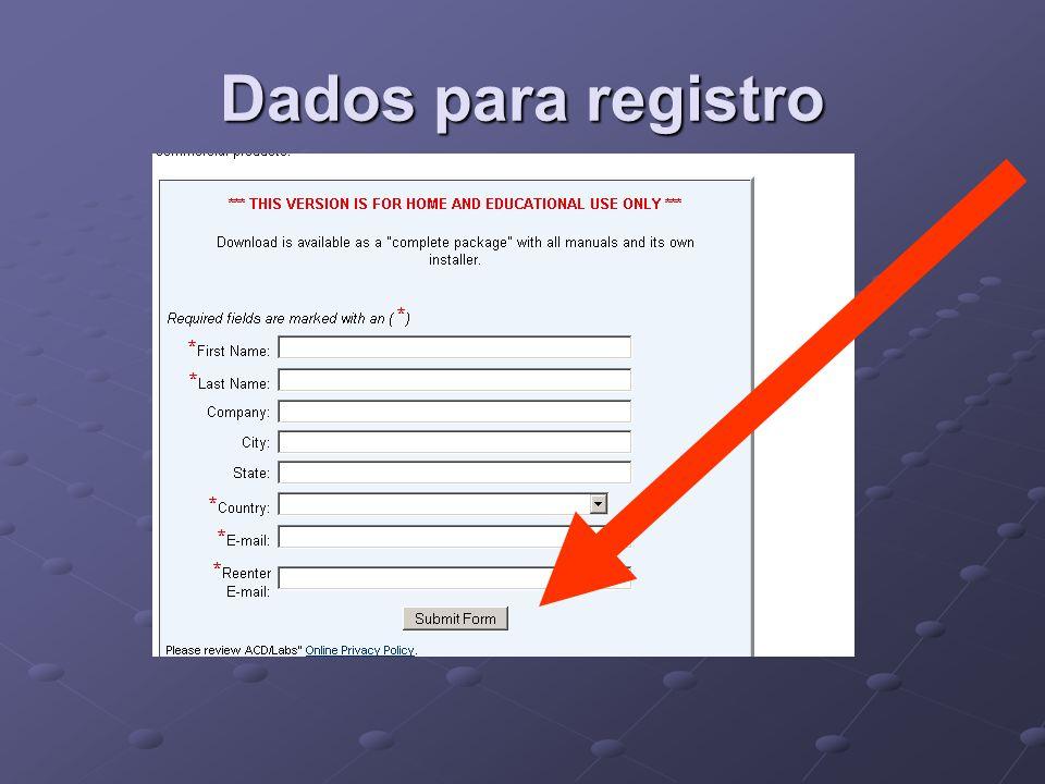 Dados para registro