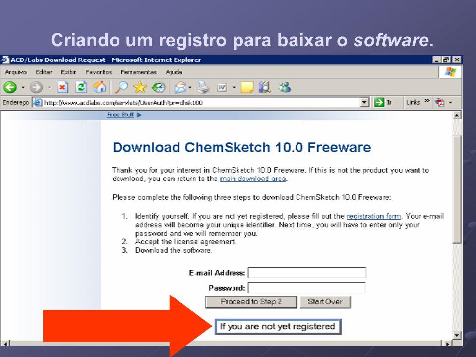 Criando um registro para baixar o software.