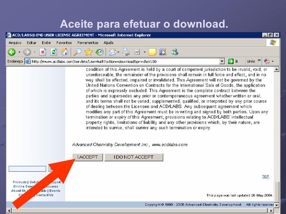Aceite para efetuar o download.