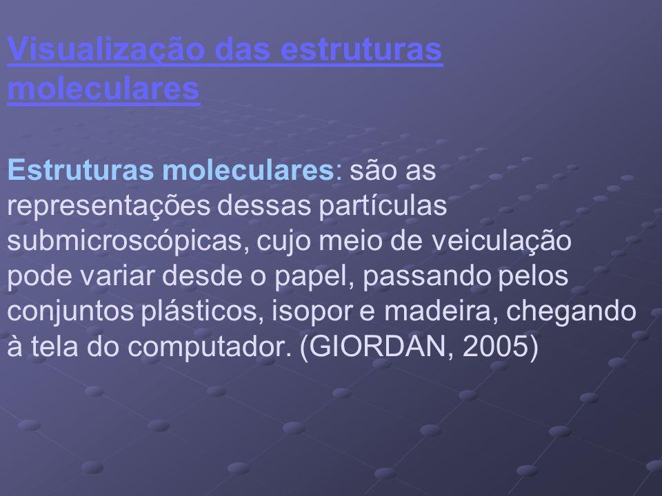 Visualização das estruturas moleculares Estruturas moleculares: são as representações dessas partículas submicroscópicas, cujo meio de veiculação pode