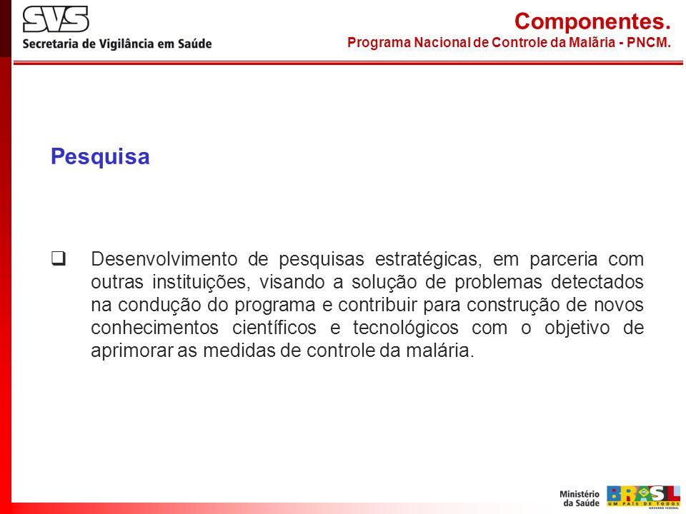 Pesquisa Desenvolvimento de pesquisas estratégicas, em parceria com outras instituições, visando a solução de problemas detectados na condução do prog